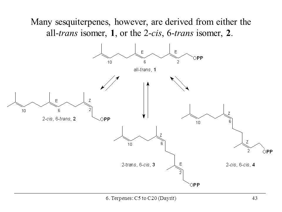 Many sesquiterpenes, however, are derived from either the