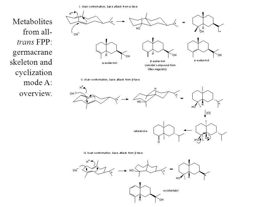 Metabolites from all-trans FPP: germacrane skeleton and cyclization mode A: overview.
