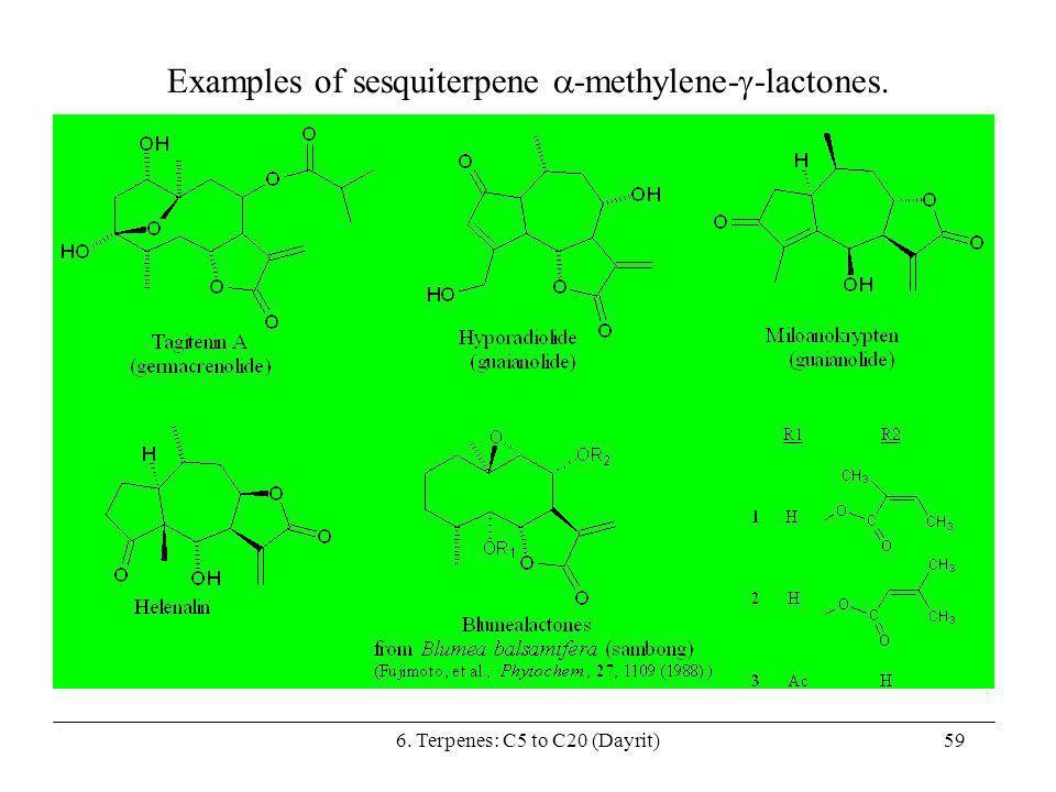 Examples of sesquiterpene -methylene--lactones.