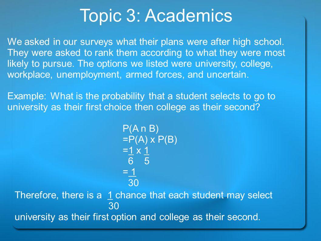 Topic 3: Academics