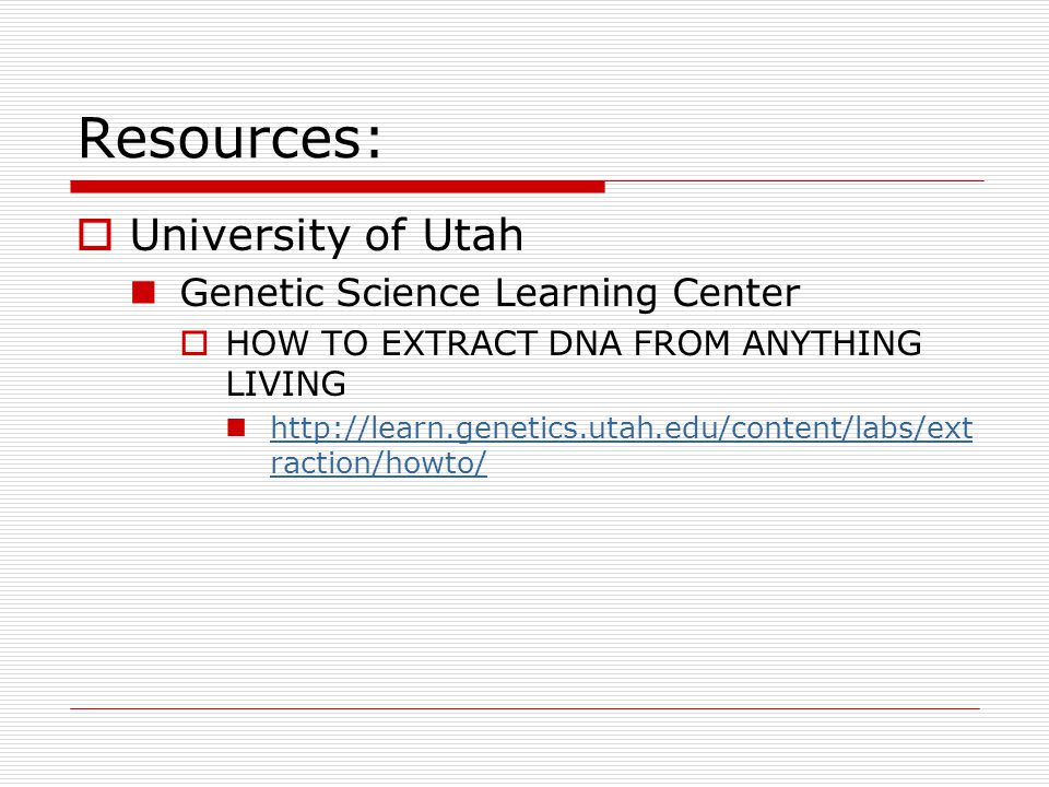Resources: University of Utah Genetic Science Learning Center