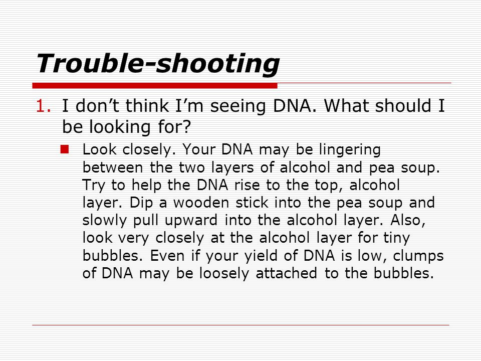 Trouble-shooting I don't think I'm seeing DNA. What should I be looking for