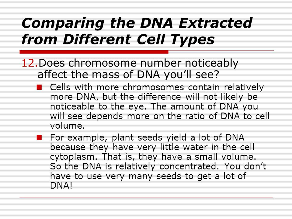 Comparing the DNA Extracted from Different Cell Types
