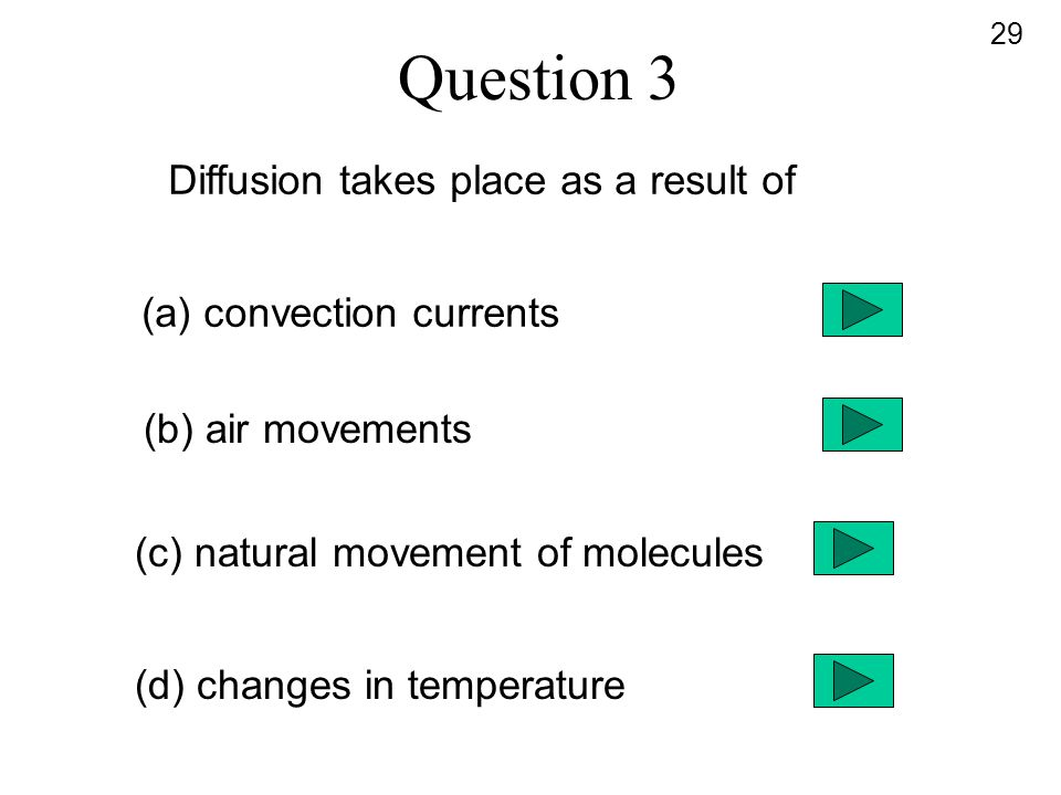 Question 3 Diffusion takes place as a result of