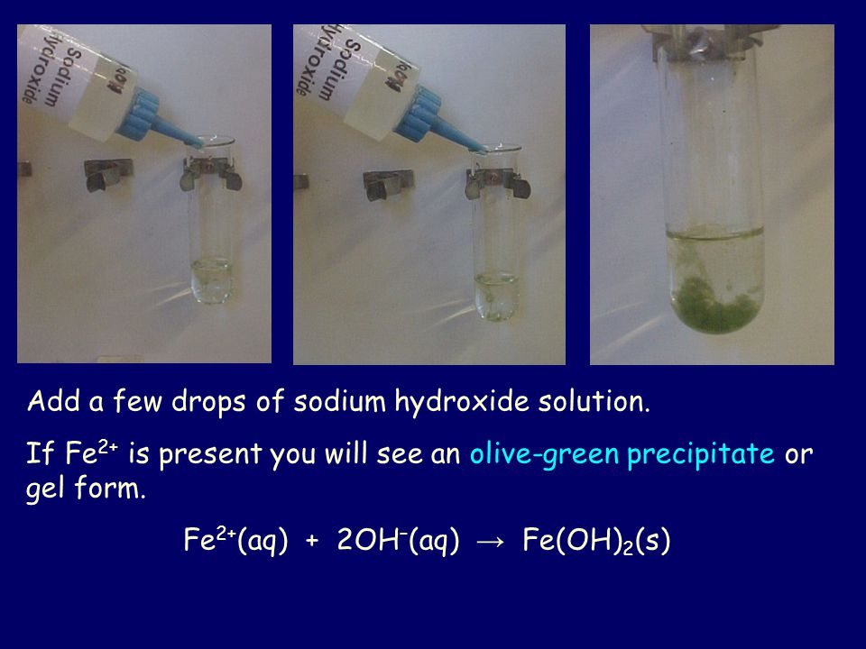 Fe2+(aq) + 2OH–(aq) → Fe(OH)2(s)