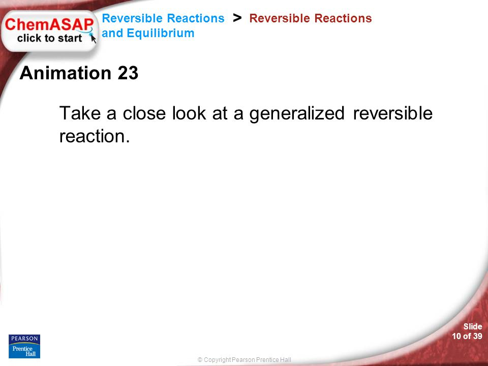 Take a close look at a generalized reversible reaction.