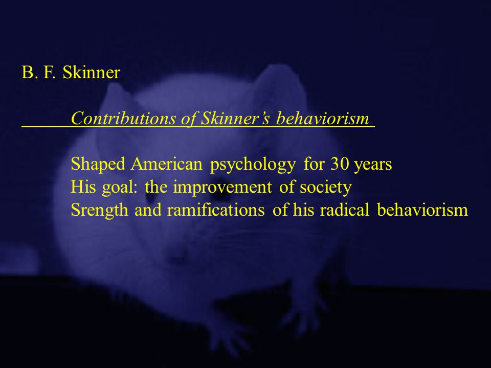 B. F. Skinner Contributions of Skinner's behaviorism. Shaped American psychology for 30 years. His goal: the improvement of society.