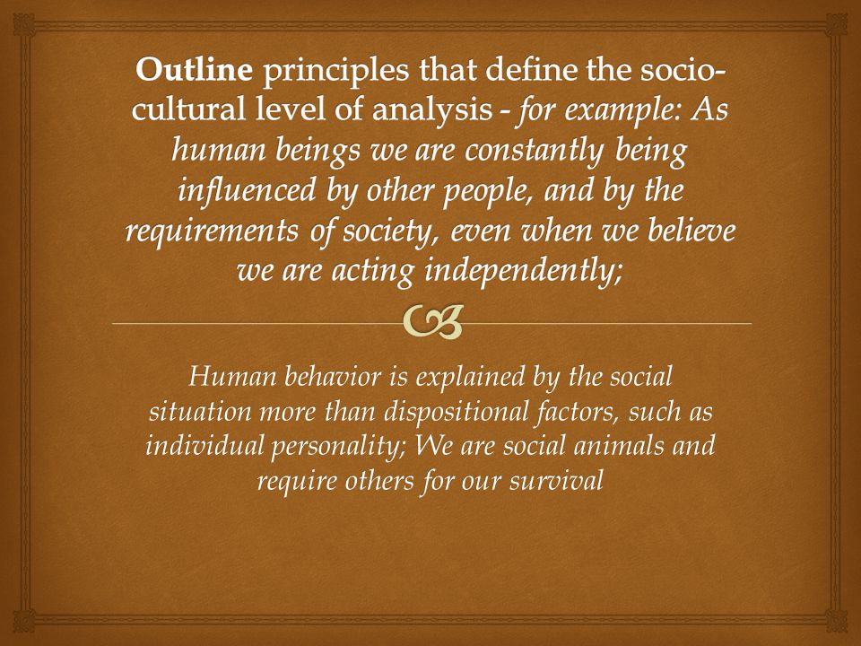 Outline principles that define the socio-cultural level of analysis - for example: As human beings we are constantly being influenced by other people, and by the requirements of society, even when we believe we are acting independently;