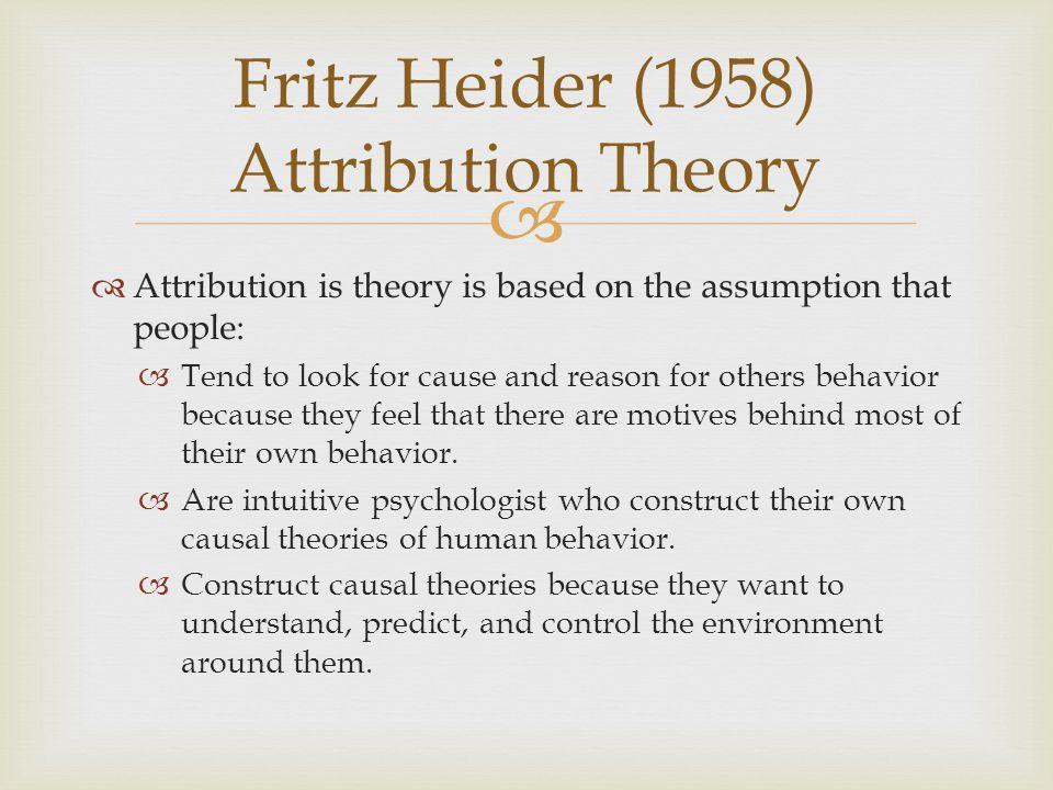 Fritz Heider (1958) Attribution Theory
