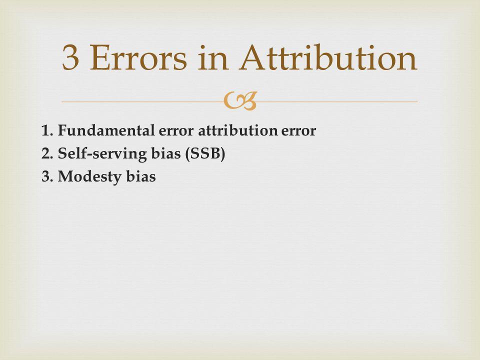 3 Errors in Attribution 1. Fundamental error attribution error 2.