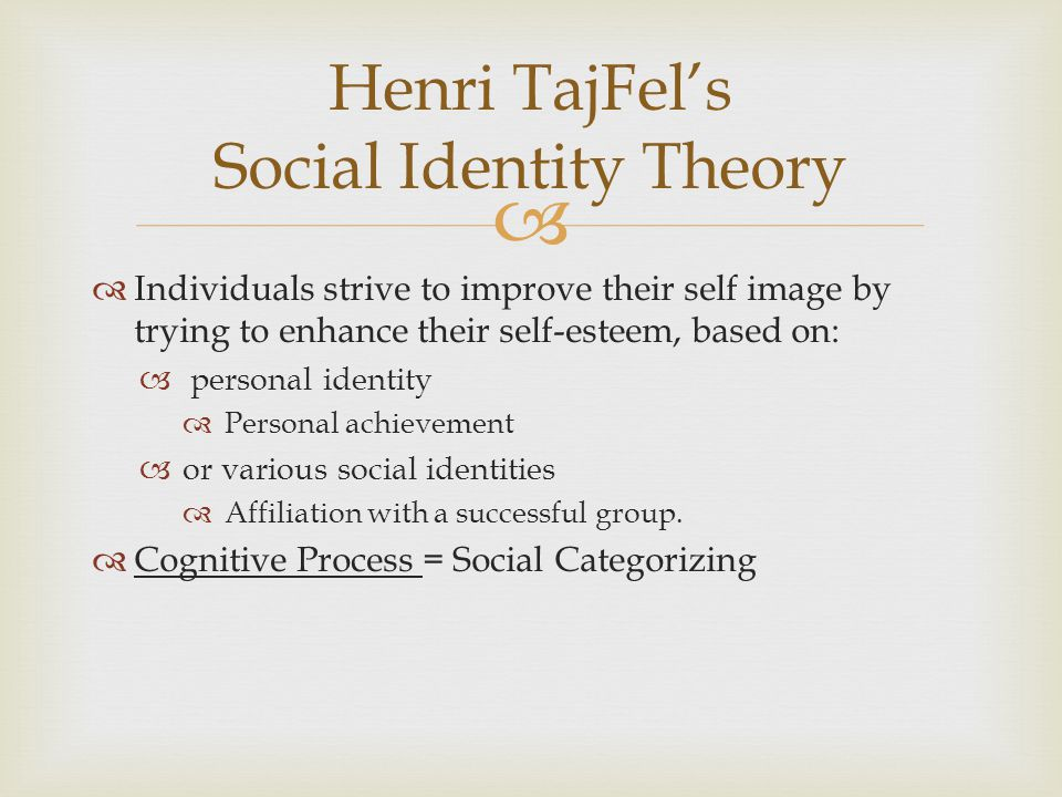 Henri TajFel's Social Identity Theory