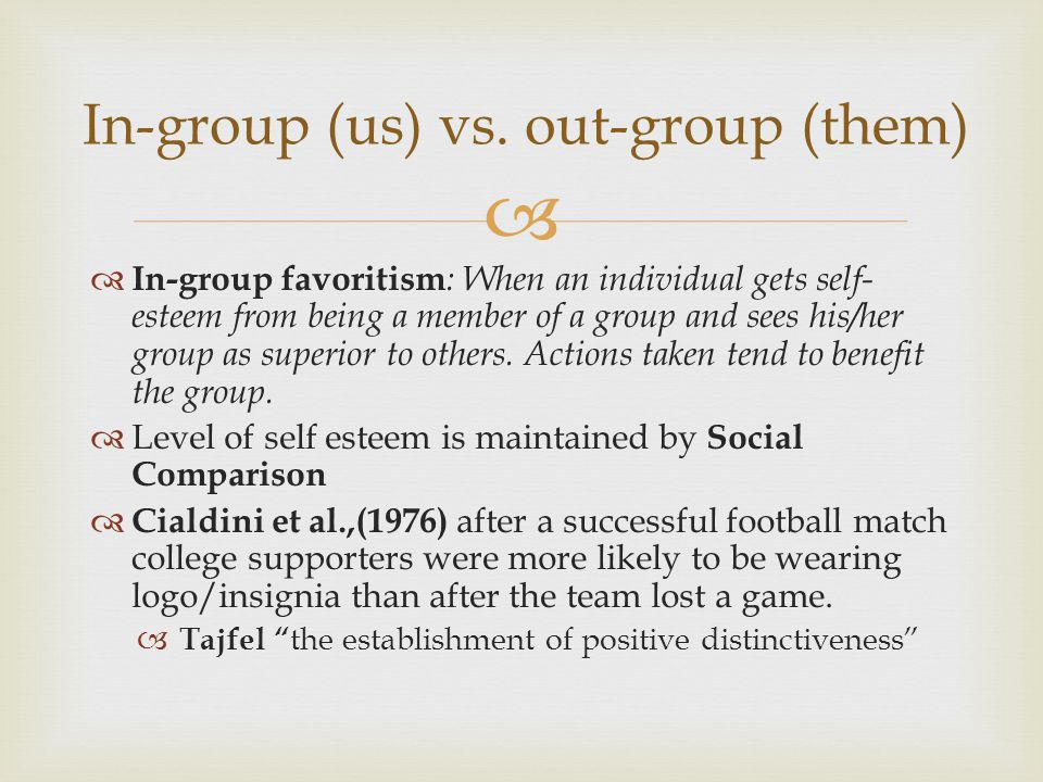 In-group (us) vs. out-group (them)