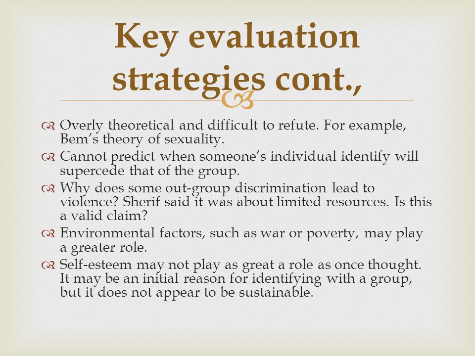 Key evaluation strategies cont.,
