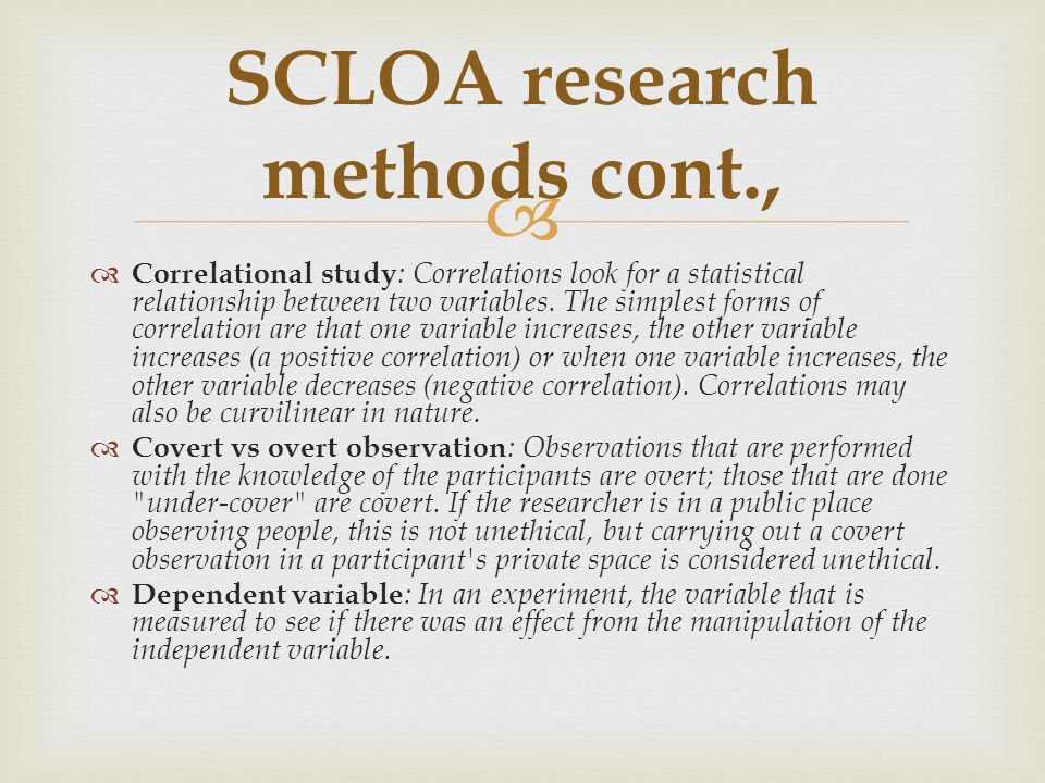 SCLOA research methods cont.,
