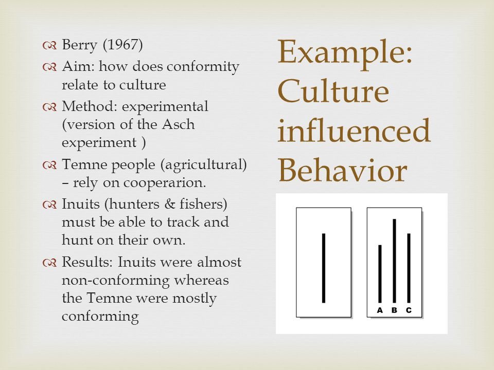 Example: Culture influenced Behavior