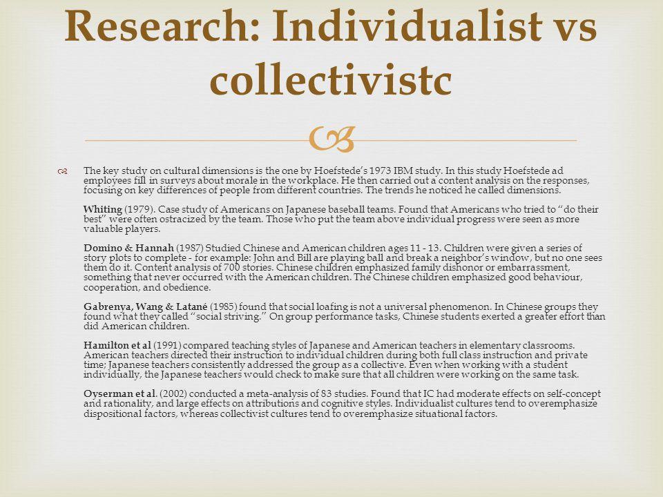 Research: Individualist vs collectivistc