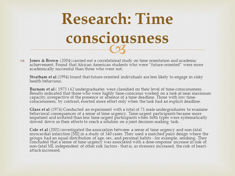 Research: Time consciousness