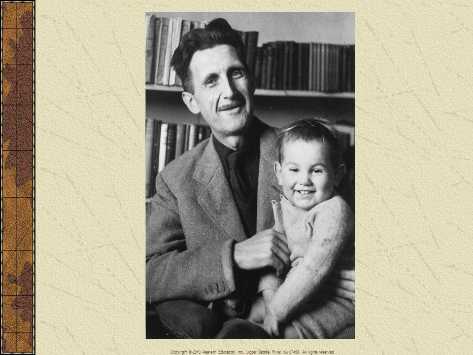 George Orwell (1903–1950), shown here with his son, was an English writer of socialist sympathies who wrote major works opposing Stalin and communist authoritarianism.