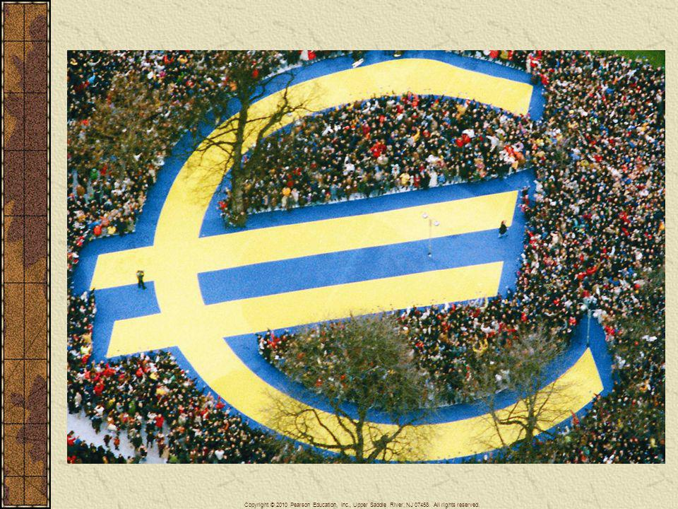 The most important accomplishment of the European Community was the launching on January 1, 1999, of the Euro, a single monetary unit that replaced the national currencies of most of its member nations. In Frankfurt, Germany people crowded around a symbol of the new currency.