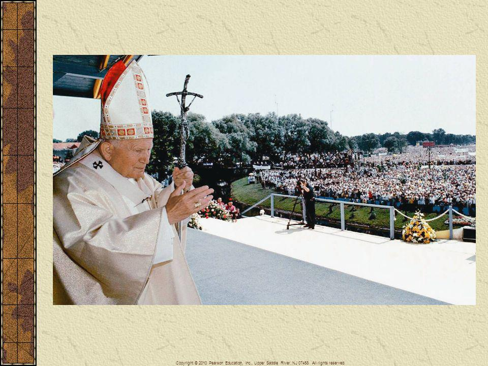 Throughout his pontificate John Paul II continued a close relationship with his native Poland to which he made several visits. The earliest of these was important in demonstrating the authority of the church against Polish communist authorities. Shown here in his Polish visit of June 1999, the pope would celebrate mass before several hundred thousand Poles after the collapse of communism which had occurred a decade earlier.