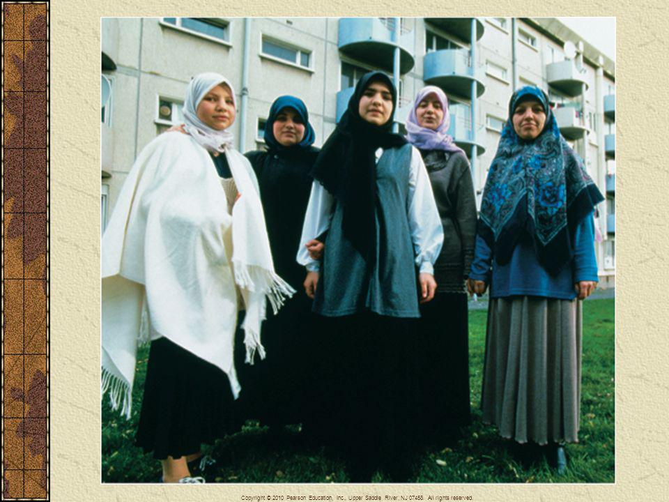 Muslim women wearing headscarves, France