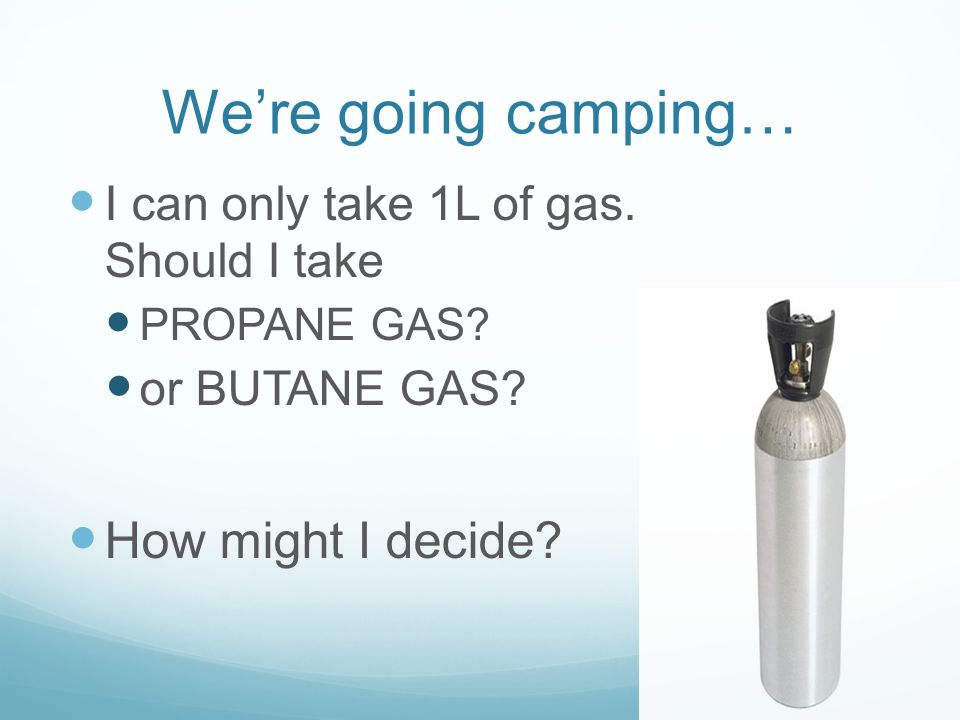 We're going camping… How might I decide