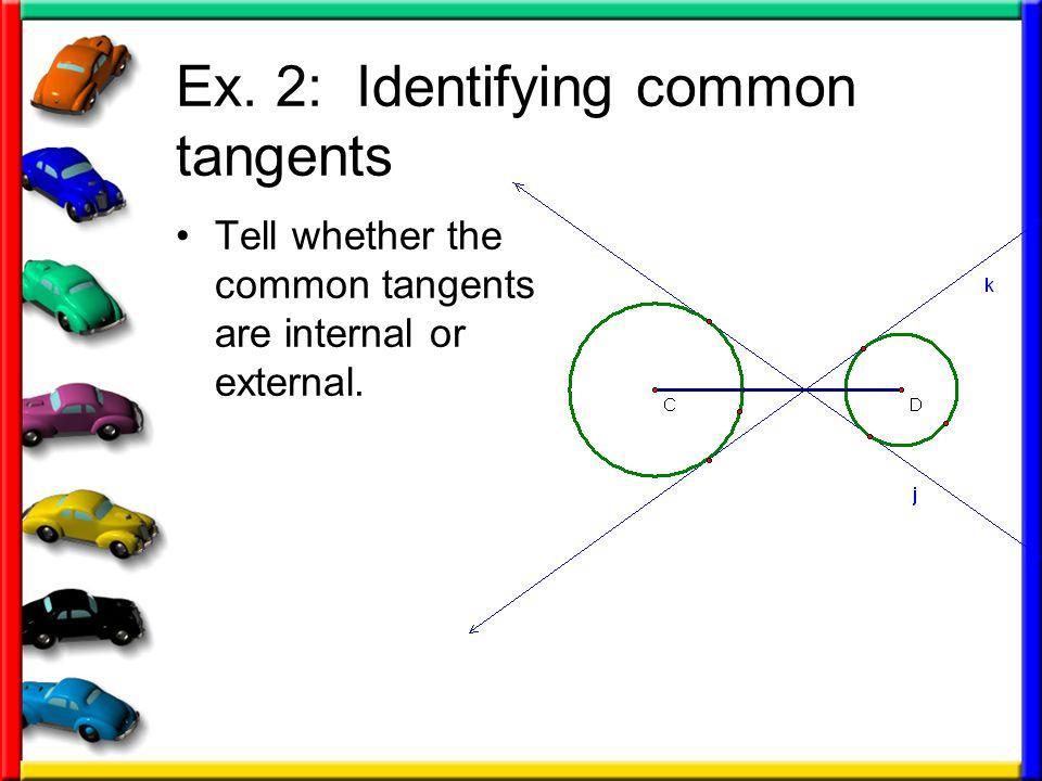Ex. 2: Identifying common tangents