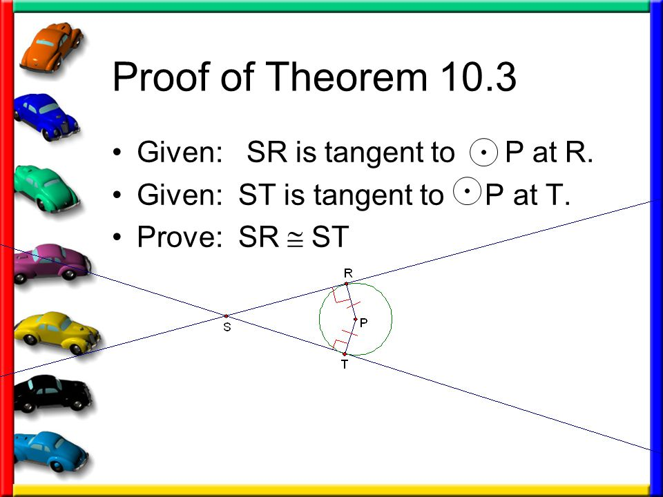 Proof of Theorem 10.3 Given: SR is tangent to P at R.