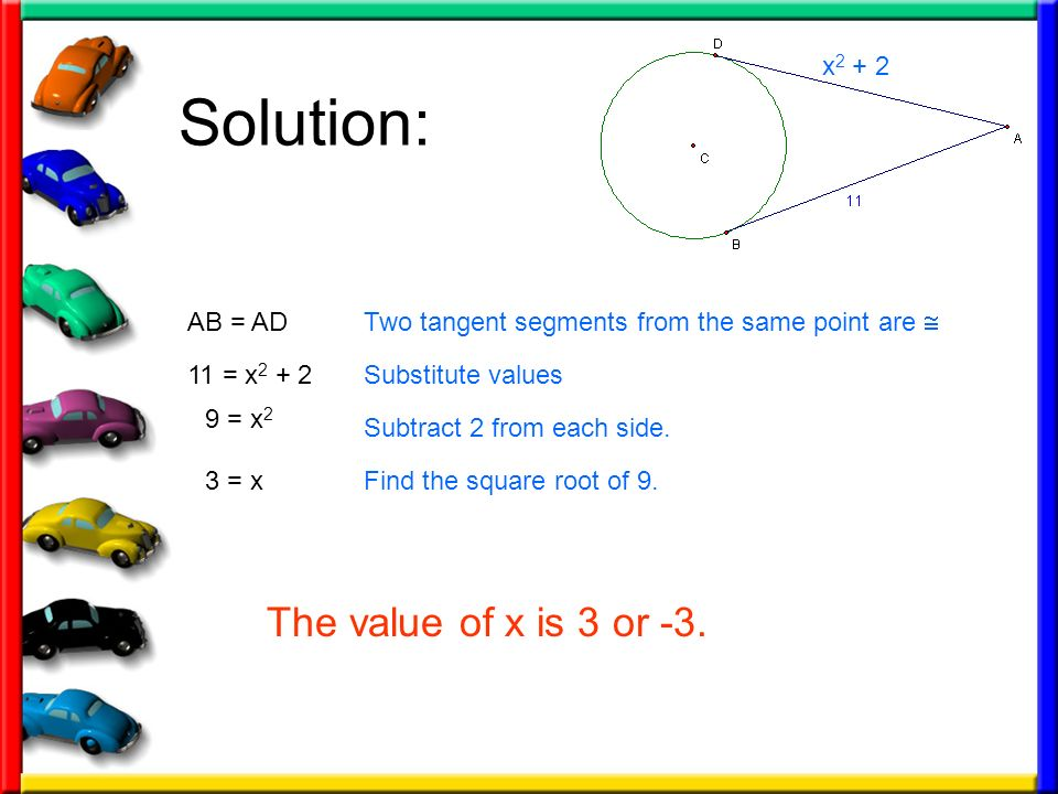 Solution: The value of x is 3 or -3. x2 + 2 AB = AD