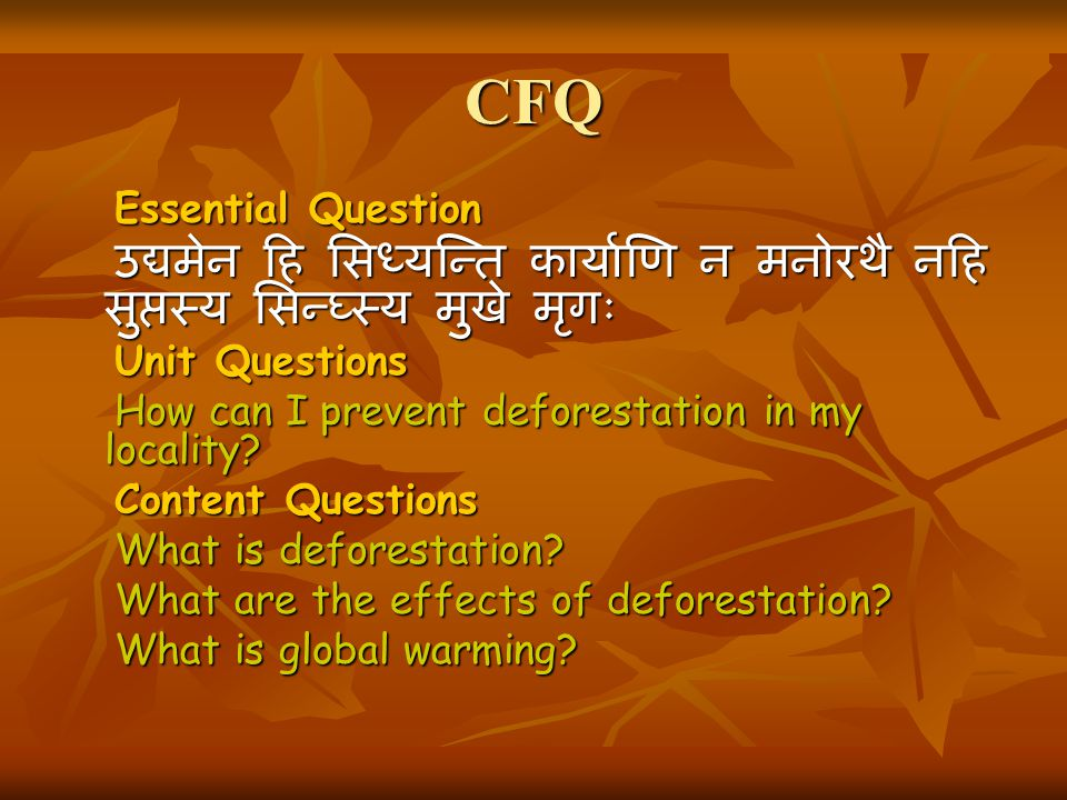CFQ Essential Question