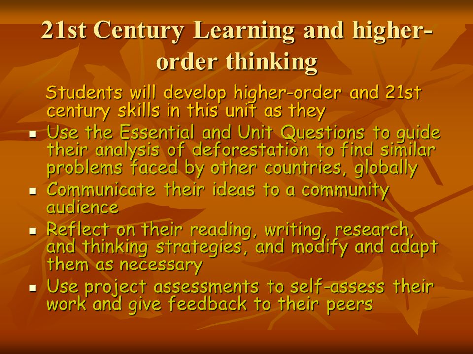 21st Century Learning and higher-order thinking