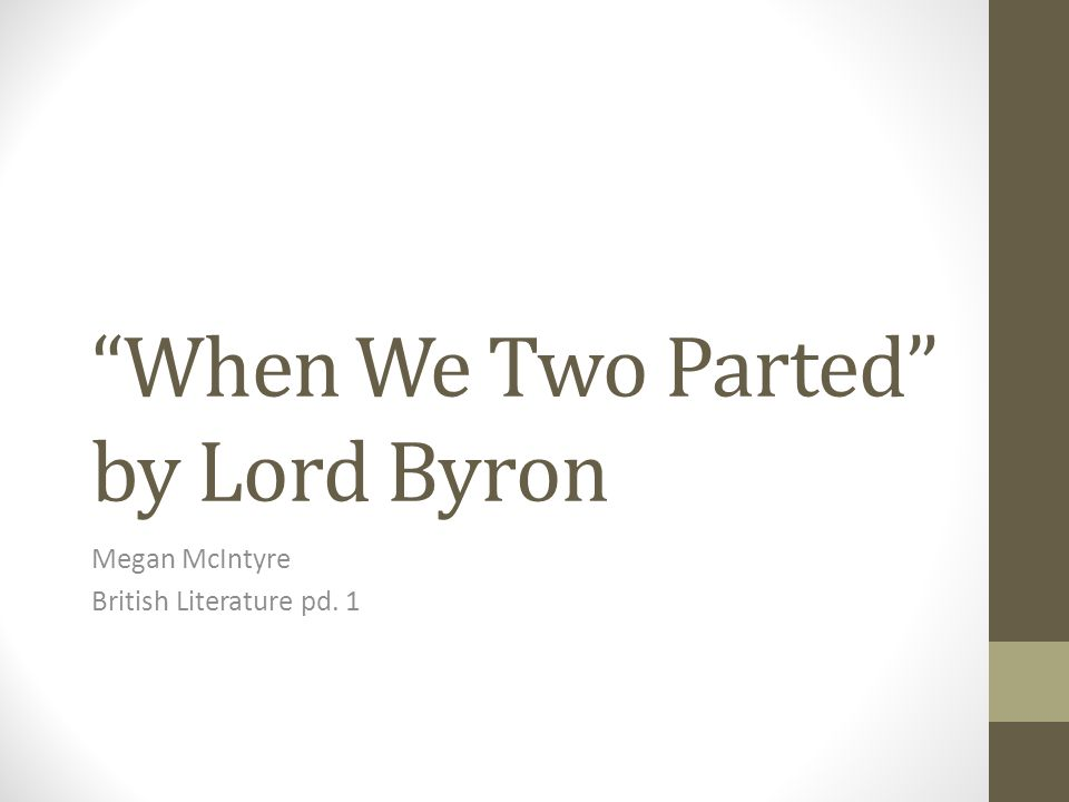 When We Two Parted by Lord Byron
