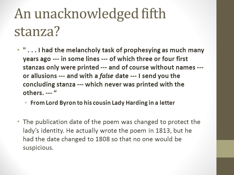 An unacknowledged fifth stanza