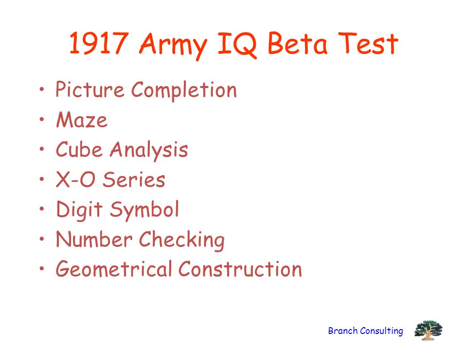 1917 Army IQ Beta Test Picture Completion Maze Cube Analysis
