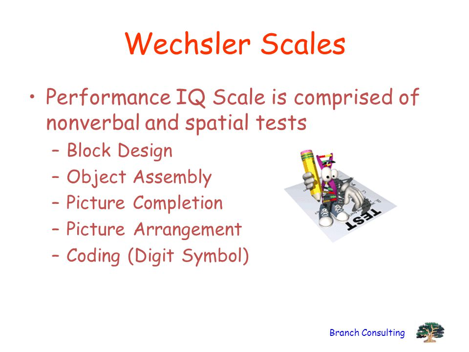 Wechsler Scales Performance IQ Scale is comprised of nonverbal and spatial tests. Block Design. Object Assembly.