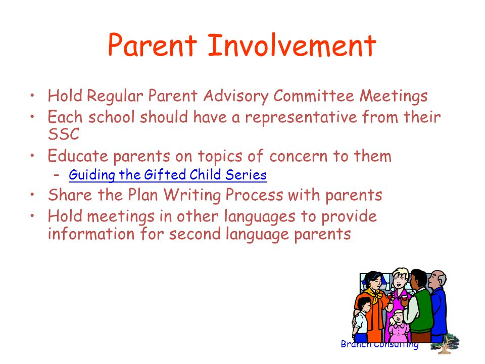 Parent Involvement Hold Regular Parent Advisory Committee Meetings
