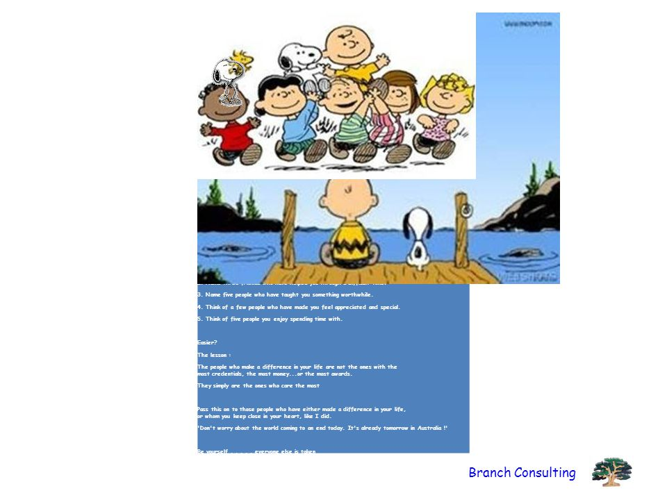 ( The following is the philosophy of Charles Schulz, the creator of the Peanuts comic strip.