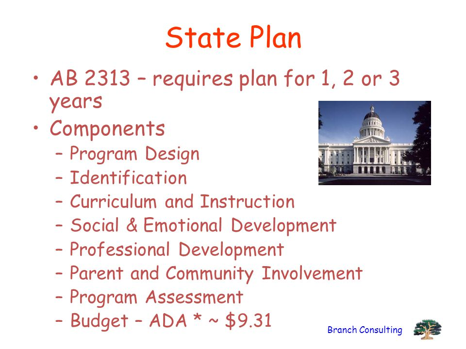 State Plan AB 2313 – requires plan for 1, 2 or 3 years Components