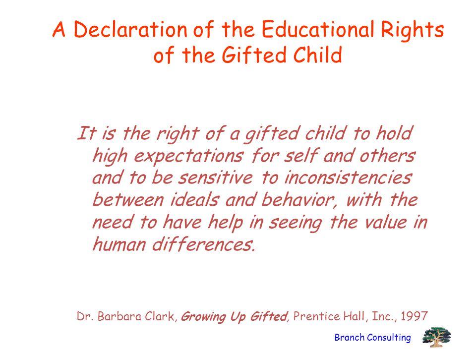 A Declaration of the Educational Rights of the Gifted Child