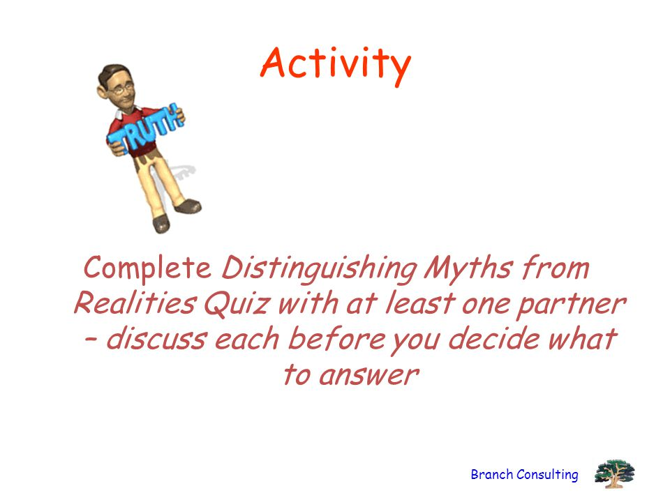 Activity Complete Distinguishing Myths from Realities Quiz with at least one partner – discuss each before you decide what to answer.