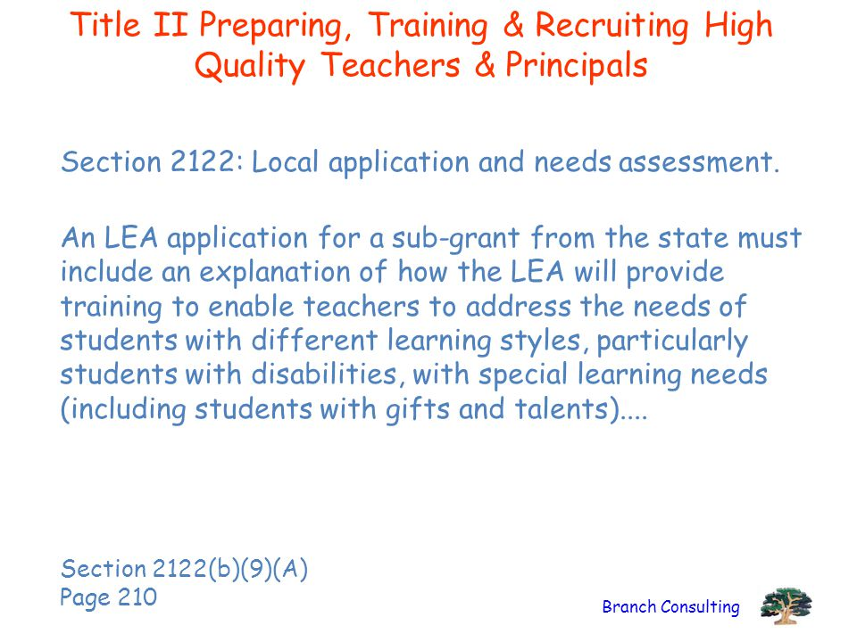 Title II Preparing, Training & Recruiting High Quality Teachers & Principals