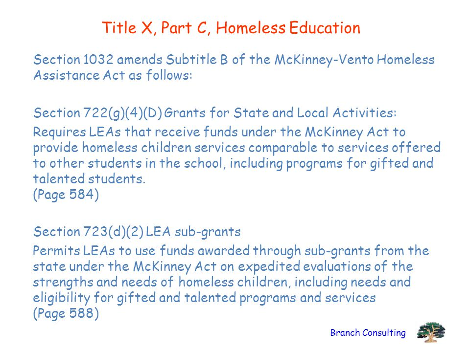 Title X, Part C, Homeless Education