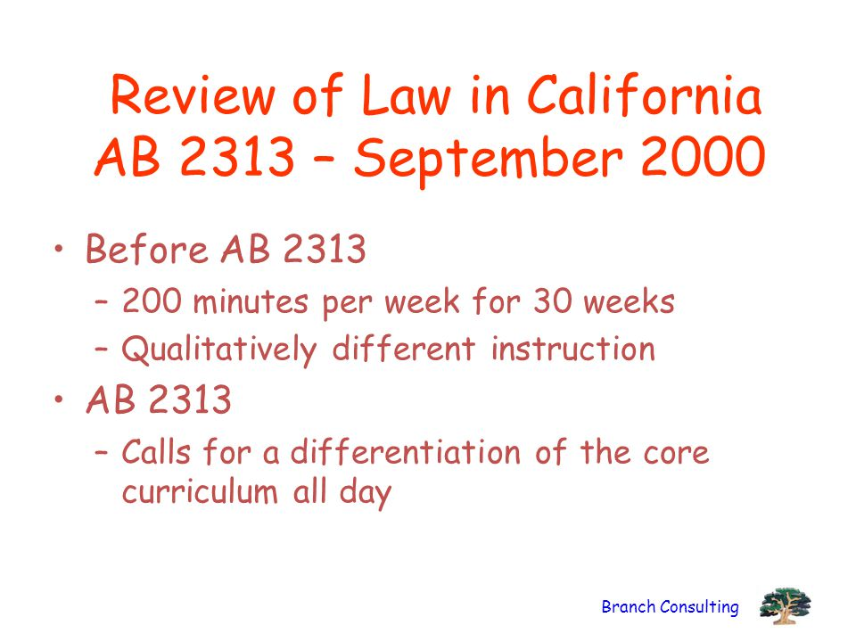 Review of Law in California AB 2313 – September 2000
