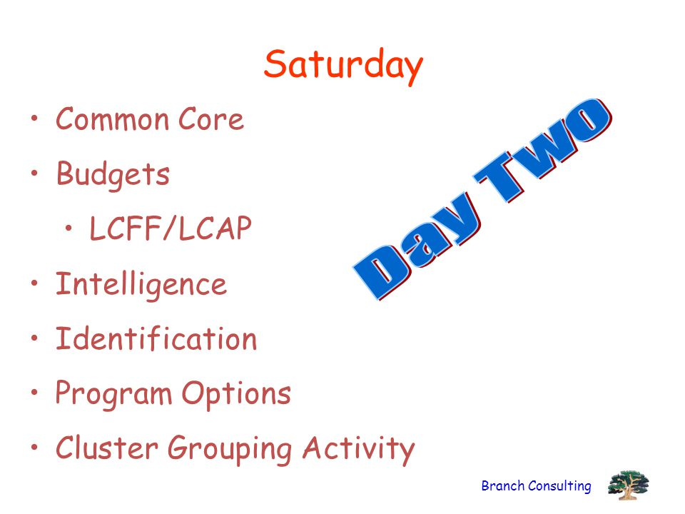 Saturday Day Two Common Core Budgets LCFF/LCAP Intelligence