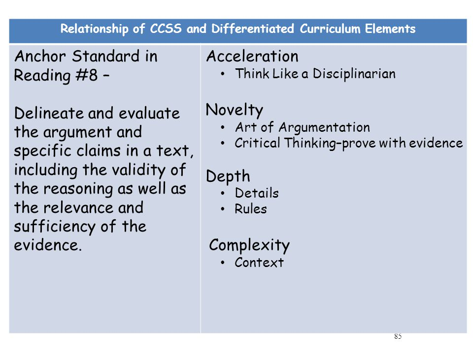 Relationship of CCSS and Differentiated Curriculum Elements