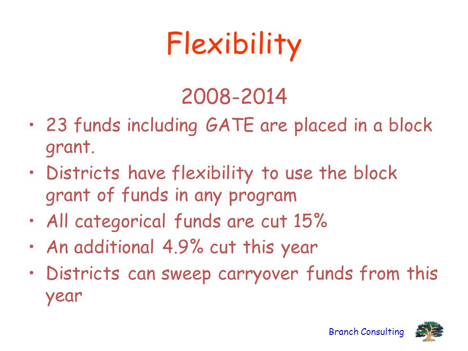 Flexibility 2008-2014. 23 funds including GATE are placed in a block grant.
