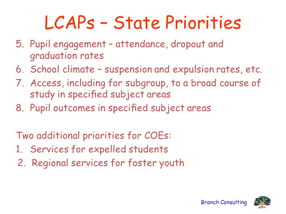 LCAPs – State Priorities