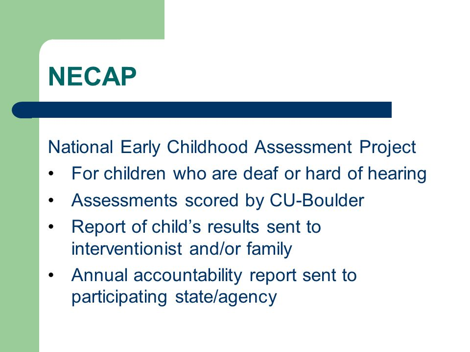 NECAP National Early Childhood Assessment Project