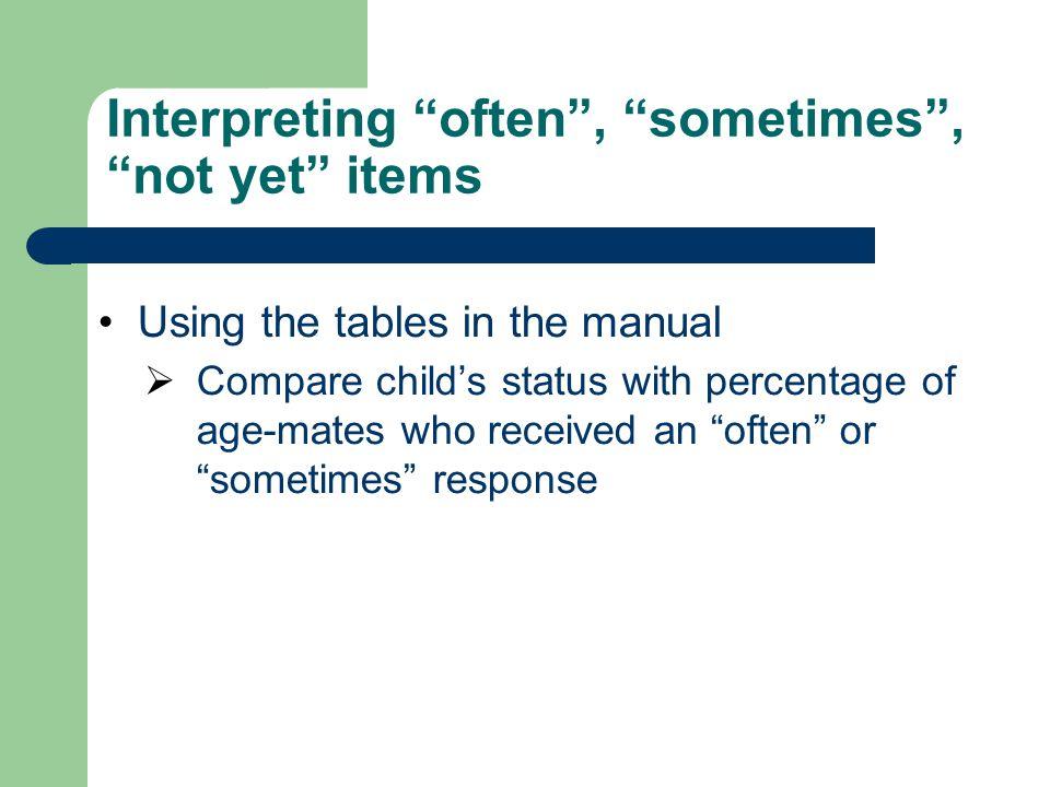 Interpreting often , sometimes , not yet items