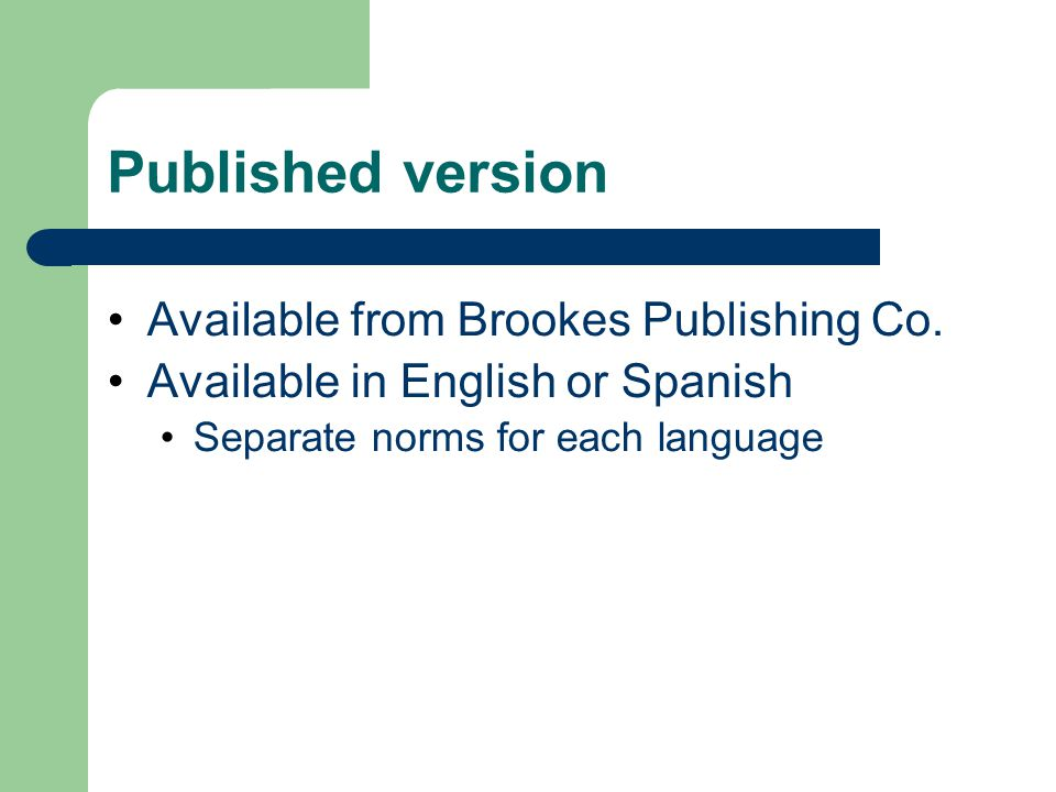 Published version Available from Brookes Publishing Co.